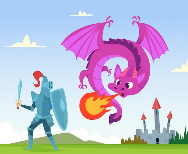 Drachenkampf. wilde märchenphantasiegeschöpfe amphibie mit flügelschlossangriff mit hintergrund der großen flamme