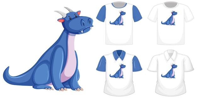 Drachenkarikaturcharakterlogo auf verschiedenem weißem hemd mit blauen kurzen ärmeln lokalisiert auf weißem hintergrund