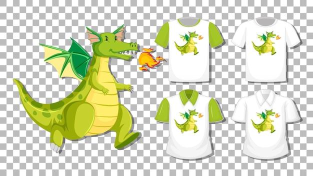 Drachenkarikaturfigur mit satz verschiedener hemden lokalisiert auf transparentem hintergrund