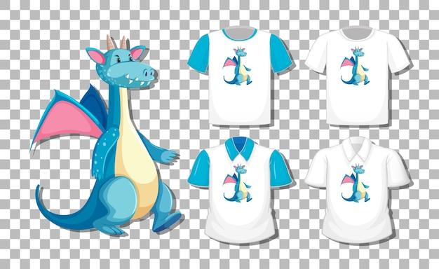 Drachenkarikaturfigur mit satz verschiedener hemden lokalisiert