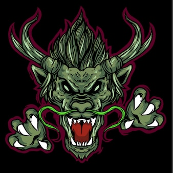 Drachenkopf-logo-maskottchen