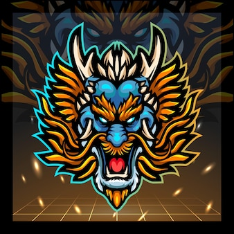 Drachenkopf-maskottchen-esport-logo-design