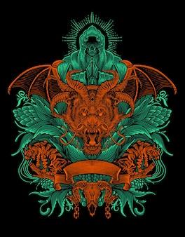 Drachenkopf mit zwei tigern auf antikem ornamentstil