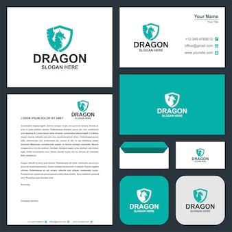 Drachenlogo und visitenkarten-premium