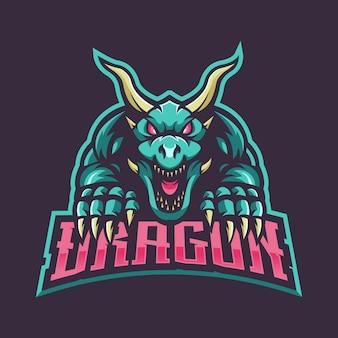 Drachenmaskottchen-logo für spiele