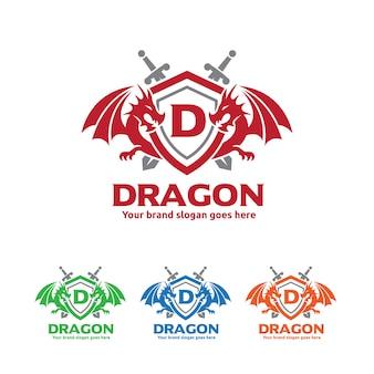 Drachenschild mit schwertern logo