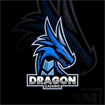 Drachentier-maskottchen-logo esport-logo-team stockbilder