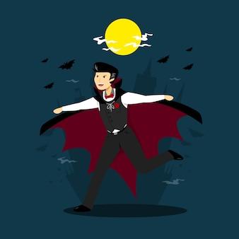 Dracula charakter in flachem design
