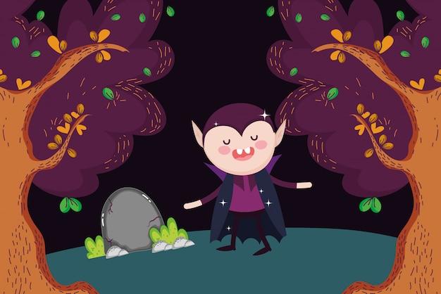 Dracula, der in den wald halloween geht