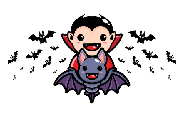 Dracula fliegt auf niedlichen fledermäusen hoch