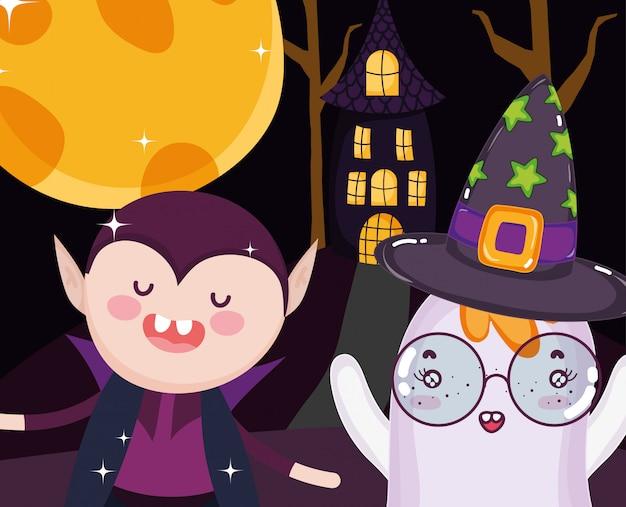 Dracula-geist und haus halloween
