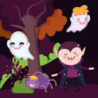 Dracula-geisterspinnen-waldbäume halloween