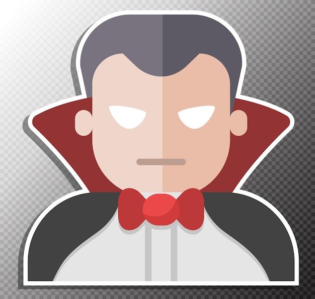 Dracula-illustration im flachen stil