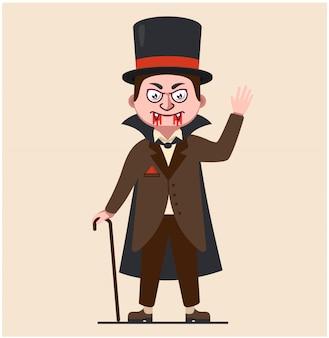 Dracula im regenmantel. vampir des 19. jahrhunderts. charakter blutsauger in hut und pfeilspitze. blut das gesicht. windkraftanlage abbildung