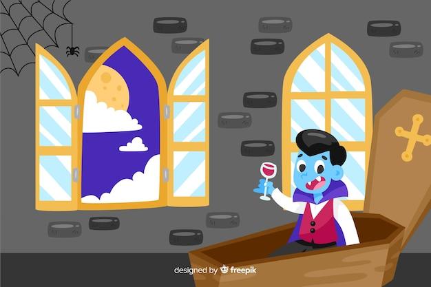 Dracula in einem sarghalloween-hintergrund