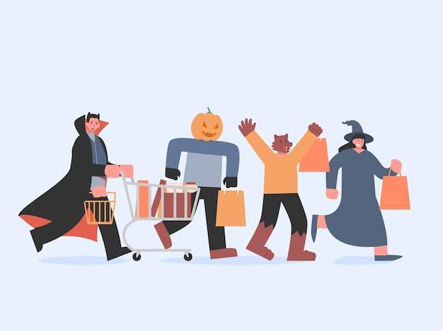 Dracula mit einkaufswagen und hexe und werwolf und kürbismonster mit tasche, die zum einkaufen in der halloween-tradition läuft. illustration über teufelsgruppe im fantasiekaufhauskonzept.