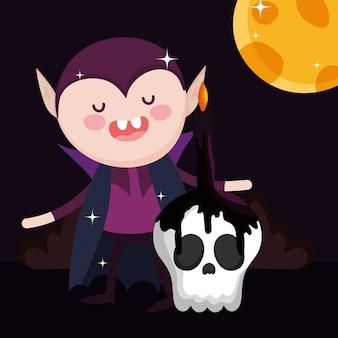 Dracula mit schädelkerze halloween