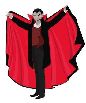 Dracula öffnete den umhang. illustration lokalisiert auf weißem hintergrund.