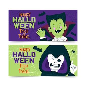 Dracula und die halloween-banner-vorlage des schnitter