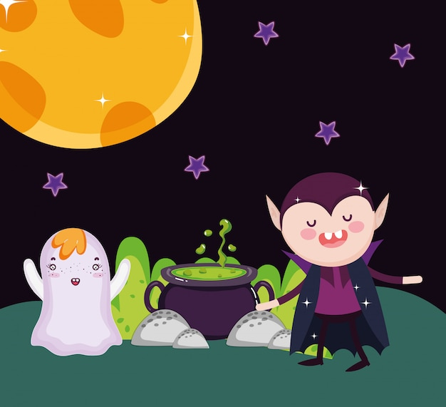 Dracula und geist mit großem kessel buchstabieren halloween