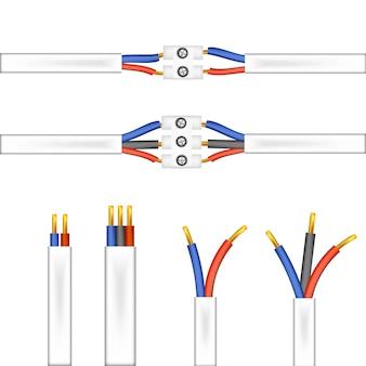 Drähte und adapter, stecker auf weißem hintergrund