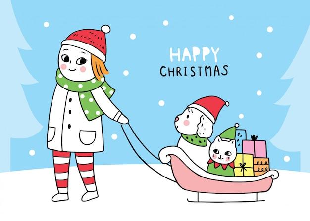 Draging schlitten des hundes und der katze der netten weihnachtsfrau der karikatur sitzender