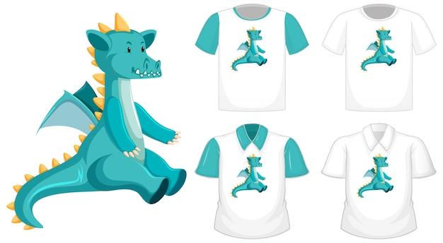 Dragon cartoon charakter logo auf verschiedenen weißen hemd mit blauen kurzen ärmeln lokalisiert auf weißem hintergrund