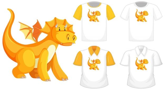 Dragon cartoon charakter logo auf verschiedenen weißen hemd mit gelben kurzen ärmeln lokalisiert auf weißem hintergrund