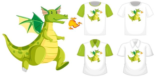 Dragon cartoon charakter logo auf verschiedenen weißen hemd mit grünen kurzen ärmeln lokalisiert auf weißem hintergrund