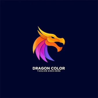 Dragon color awesome pose illustration logo.