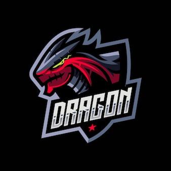 Dragon head maskottchen für esport und sport logo isoliert