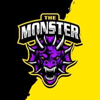 Dragon maskottchen logo esport gaming