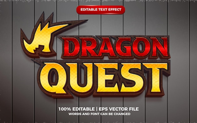 Dragon quest 3d bearbeitbarer texteffekt cartoon-spielvorlagenstil