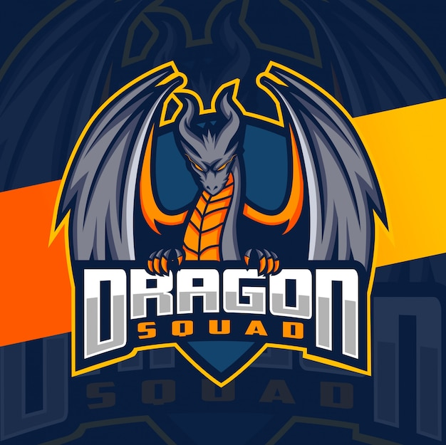 Dragon squad maskottchen esport-logo