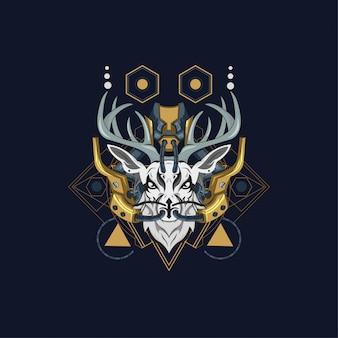 Dragon x deer fantastische illustration
