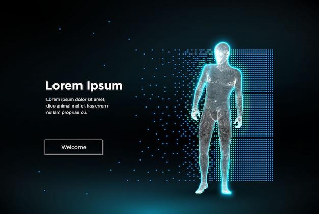 Drahtgitter-polygonmann. konzept der cloud-technologie, digitaler mensch erreicht futuristisch verbundene linie. große daten. künstliche intelligenz.