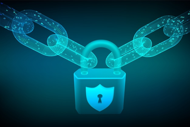 Drahtgitterkette mit digitalem code und schloss. blockchain, cybersicherheit, sicherheit, datenschutzkonzept.