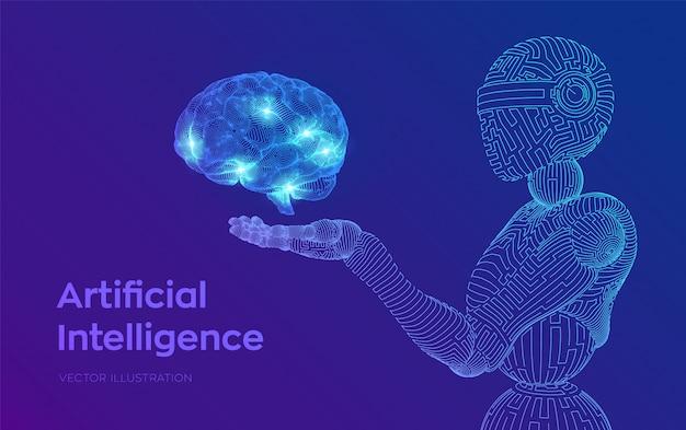 Drahtgitterroboter. ki künstliche intelligenz in form von cyborg oder bot. gehirn in roboterhand. digitales gehirn.