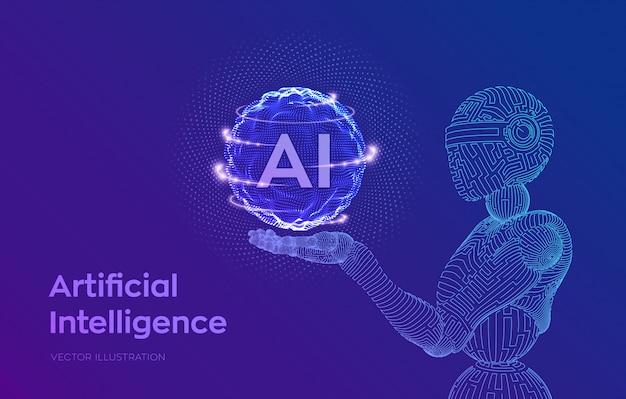 Drahtgitterroboter. ki künstliche intelligenz in roboterhand. konzept des maschinellen lernens und der dominanz des cyber-geistes.