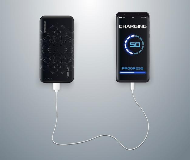 Drahtlos aufgeladen auf einem blauen. kabelloses laden. drahtloses laden des smartphone-akkus.