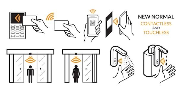 Drahtlos, kreditkarte, smart card und smartphone. autotür, wasserhahn und alkoholspender