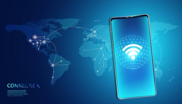 Drahtlose internet-technologie auf smartphone-hintergrund-wlan-kommunikation