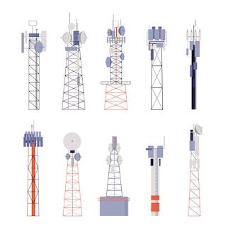 Drahtlose türme. satellitenkommunikation, isolierte funkantenne oder mobilfunkgeräte. antenne, telefonsignalstation-vektorillustration. antenne funk, kommunikationsgeräte antenne drahtlos