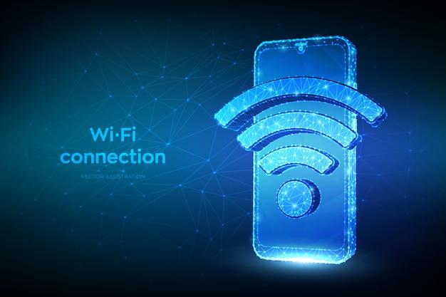 Drahtlose verbindung und kostenloses wifi-konzept. abstraktes niedriges polygonales smartphone mit wi-fi-zeichen.
