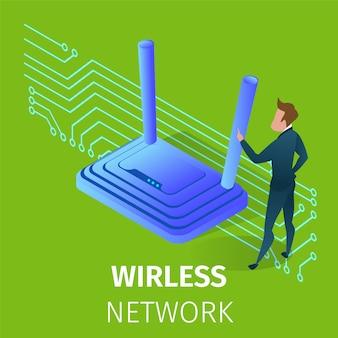 Drahtlose wi-fi-netzwerktechnologie im menschlichen leben.