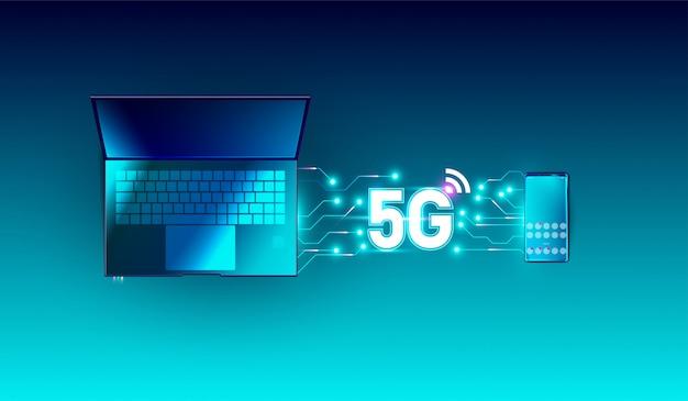 Drahtloses 5g-netzwerk auf smartphone und laptop