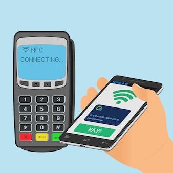 Drahtloses bezahlen mit nfc-technologie über ein smartphone.