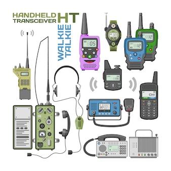 Drahtloses mobiles kommunikationsgerät des tragbaren funksenders des walki-talkie-vektors