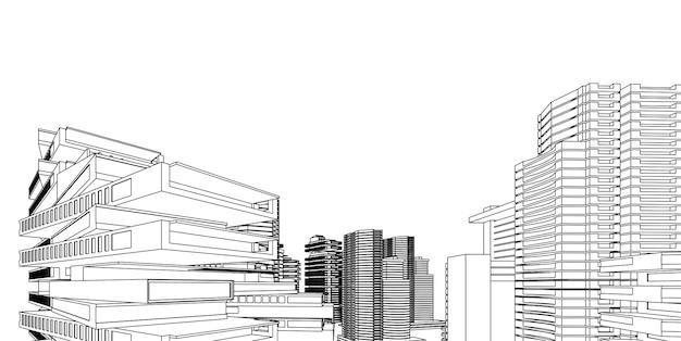 Drahtmodell für moderne architektur. konzept des städtischen drahtgitters. wireframe, das illustration 3d der architektur errichtet