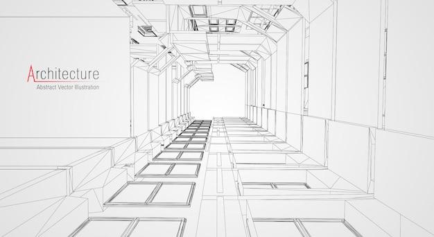 Drahtmodell für moderne architektur.
